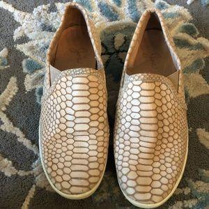 Joie cream snake print loafer slip on shoes